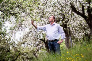 Valentin Latschen bei der Begutachtung seiner Obstbäume - Pfau Brennerei